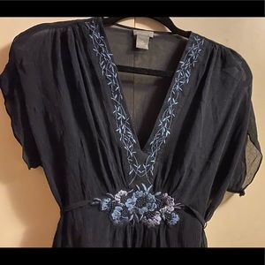 Ann Taylor Silk Embroidered Top NWOT